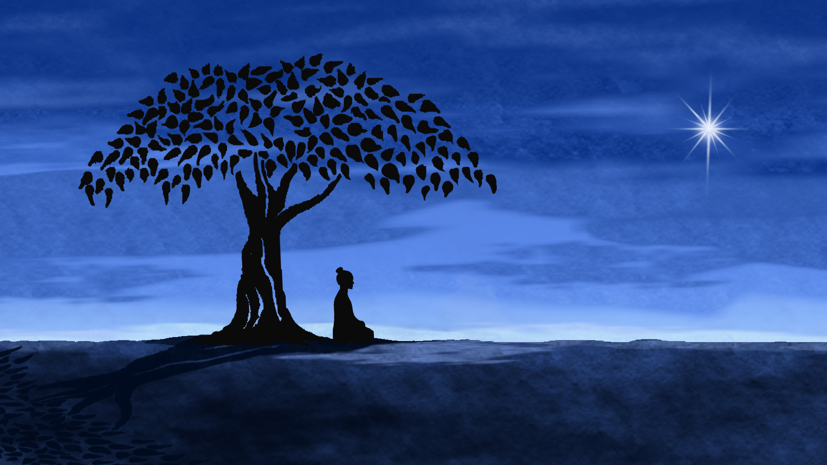 THE BUDDHA - The Buddha combines animation and traditional documentary storytelling. This animation image from the film depicts the Buddha gaining enlightenment while meditating under a fig tree.